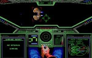 "Screenshot from Origin's award winning space simulator ""Wing Commander"" released Sept. 25, 1990."