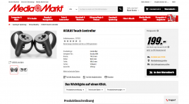 OCULUS Touch Controllers appear in German Media Markt webshop